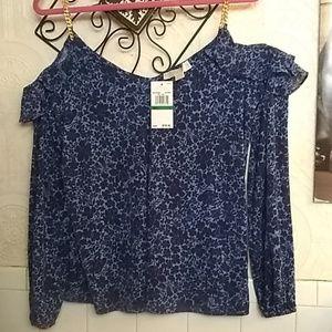 Michael Kors Tops - Michael kors blue floral cold shoulder top